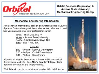 Orbital Sciences Corporation & Arizona State University  Mechanical Engineering Co-Op