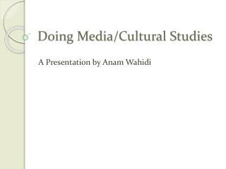 Doing Media/Cultural Studies