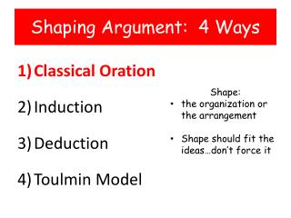 Shaping Argument:  4 Ways