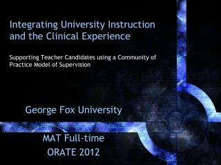 George Fox University MAT Full-time ORATE 2012