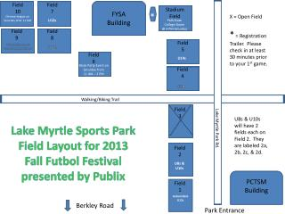 Lake Myrtle Sports Park Field Layout for 2013 Fall  Futbol  Festival presented by Publix