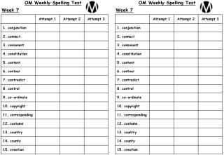 OM Weekly Spelling Test Week 7