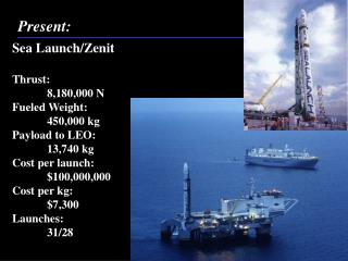 Sea Launch/ Zenit Thrust:		8,180,000 N Fueled Weight:	450,000 kg Payload to LEO:	13,740 kg
