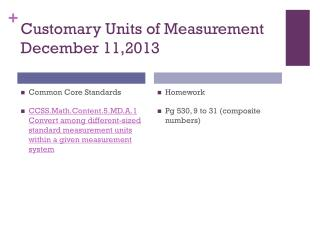 Customary Units of Measurement December 11,2013
