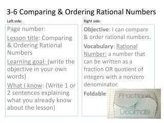3-6 Comparing & Ordering Rational Numbers