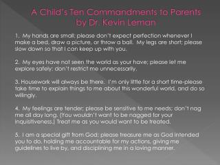 A Child's Ten Commandments to Parents by Dr. Kevin Leman