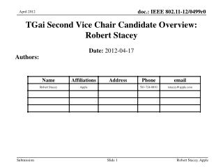 TGai  Second Vice Chair Candidate Overview: Robert Stacey