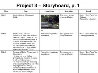 Project 3 – Storyboard, p. 1