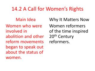14.2 A Call for Women's Rights