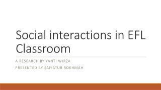 Social interactions in EFL Classroom