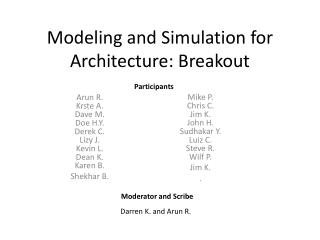 Modeling and Simulation for Architecture: Breakout