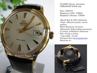 CLASSIC Orient  Automatic CER24003W DATE-only Price :USD170