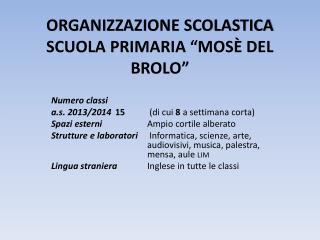 """ORGANIZZAZIONE SCOLASTICA SCUOLA PRIMARIA """"MOSÈ DEL BROLO """""""