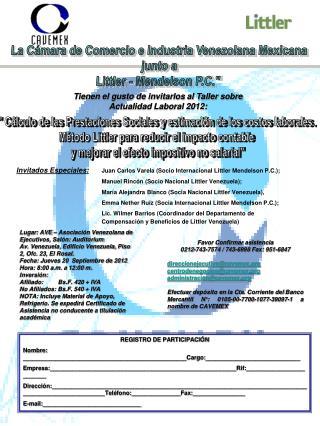 Tienen el gusto de invitarlos al Taller sobre Actualidad Laboral 2012:
