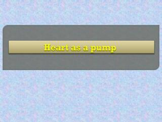 Heart as a pump