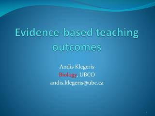 Evidence-based teaching outcomes