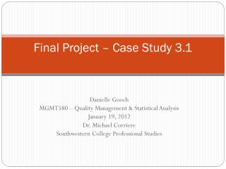 Final Project – Case Study 3.1