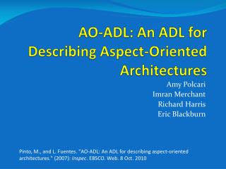 AO-ADL: An ADL for Describing Aspect-Oriented Architectures