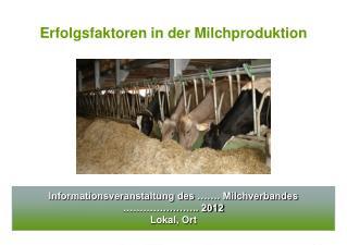 Informationsveranstaltung des ……. Milchverbandes ………………….. 2012 Lokal, Ort