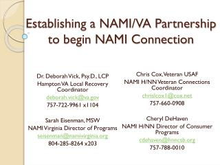 Establishing a NAMI/VA Partnership to begin NAMI Connection