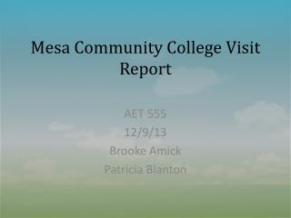 Mesa Community College Visit Report