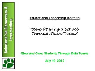 "Educational Leadership Institute ""Re-culturing a School  Through Data Teams"""