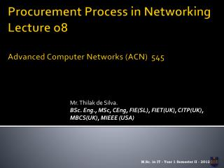 Procurement Process in Networking Lecture o8 Advanced Computer Networks (ACN)  545