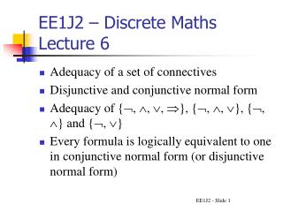 EE1J2   Discrete Maths Lecture 6