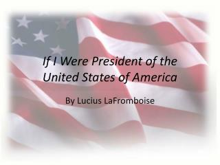 If I  Were President of the United States of America