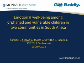 Emotional well-being among orphaned and vulnerable children in two communities in South Africa