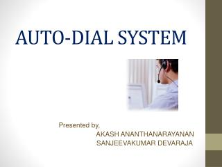 AUTO-DIAL SYSTEM