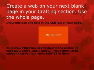Create a web on your next blank page in your Crafting section. Use the whole page.