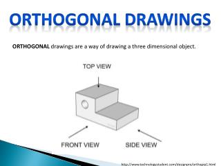 ORTHOGONAL  drawings are a way of drawing a three dimensional object.