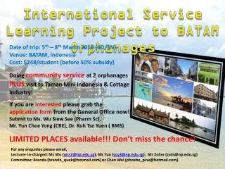 International Service Learning Project to BATAM Orphanages