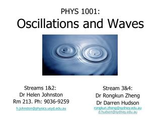 PHYS 1001: Oscillations and Waves