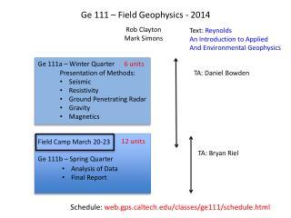 Ge  111 – Field Geophysics - 2014