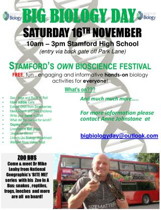 SATURDAY 16 TH  N OVEMBER  10am  – 3pm Stamford High  School (entry via back gate off Park Lane)