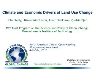 Climate and Economic Drivers of Land Use Change
