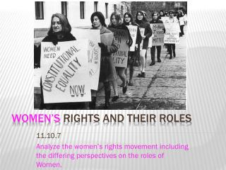 Women's  Rights and their Roles