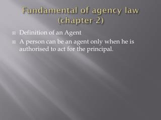 Fundamental of agency law (chapter-2)