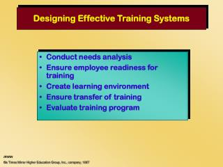 Designing Effective Training Systems
