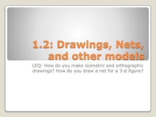 1.2: Drawings, Nets, and other models