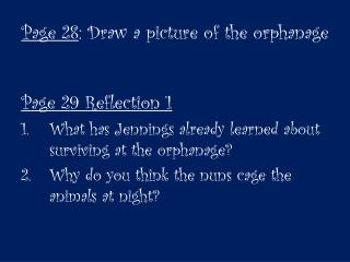 Page 28 : Draw a picture of the orphanage