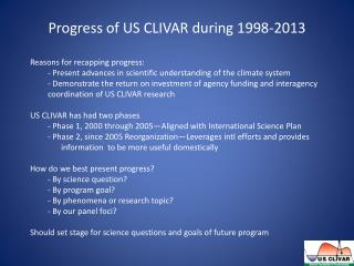 Progress of US CLIVAR during 1998-2013