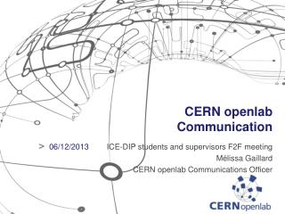 CERN openlab Communication