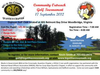 Community Outreach  Golf Tournament 17 September 2012