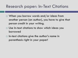 Research paper: In-Text Citations