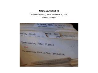 Name Authorities