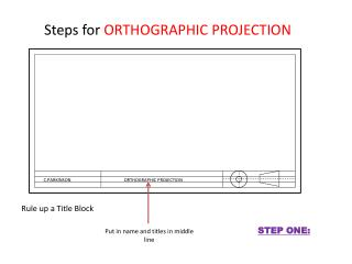 Steps for  ORTHOGRAPHIC PROJECTION