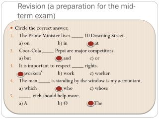 Revision (a preparation for the mid-term exam)